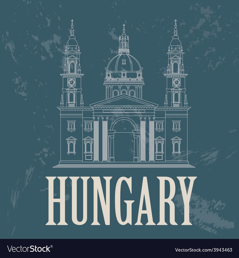 Hungary landmarks Retro styled image