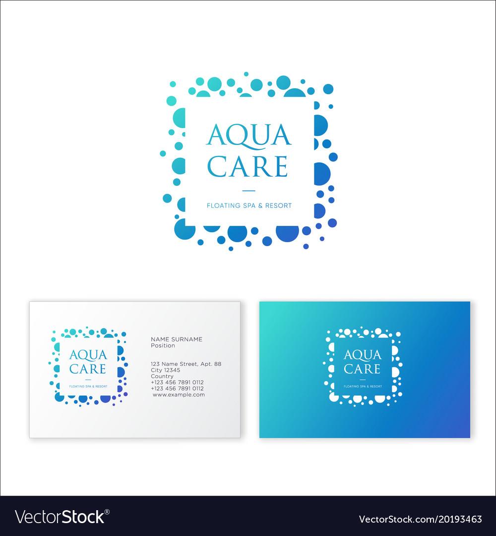 Logo aqua care spa emblem mineral natural cosmetic