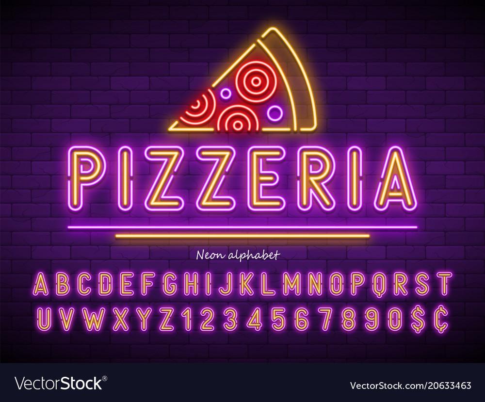 Pizzeria neon light alphabet extra glowing font
