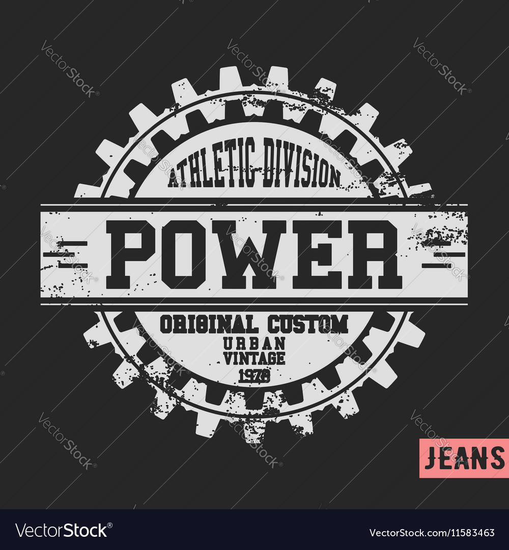 Power gear vintage stamp vector image