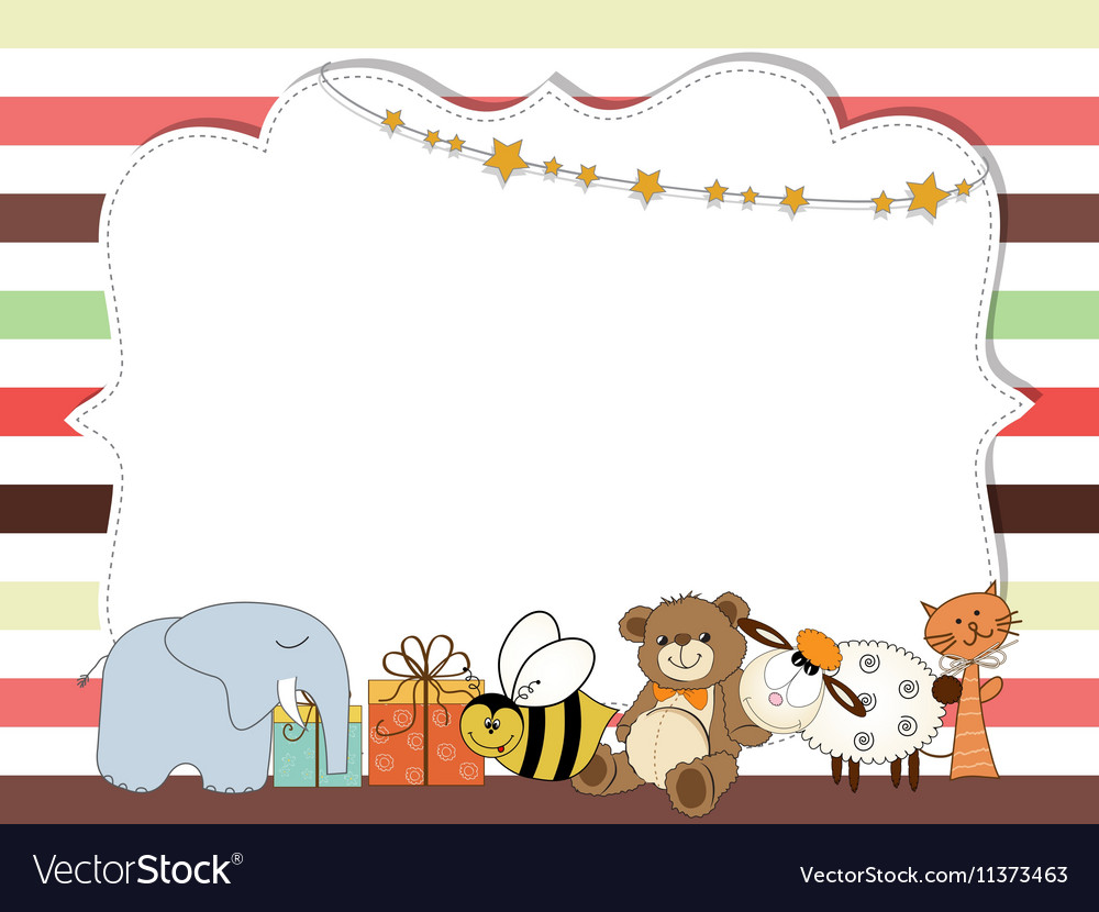 Pretty frame on color lines template for baby