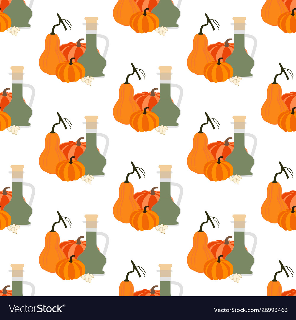 Pumpkin seeds oil seamless pattern