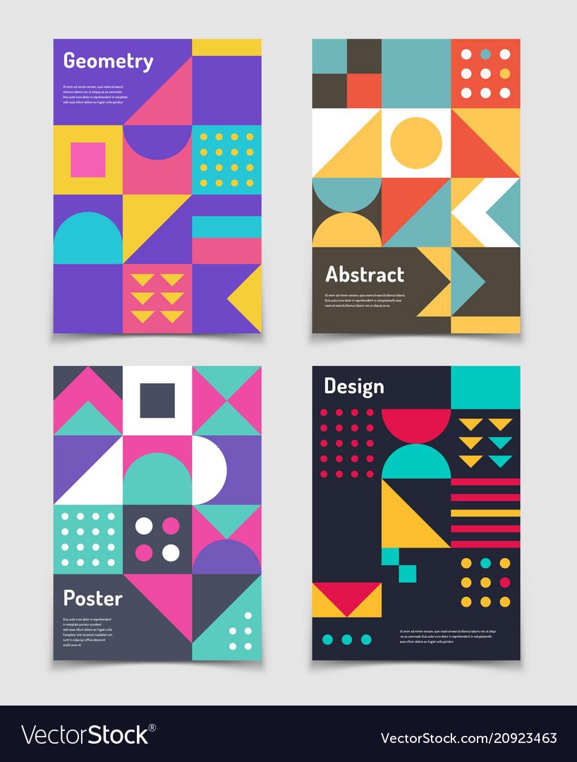 Retro swiss graphic posters with geometric bauhaus