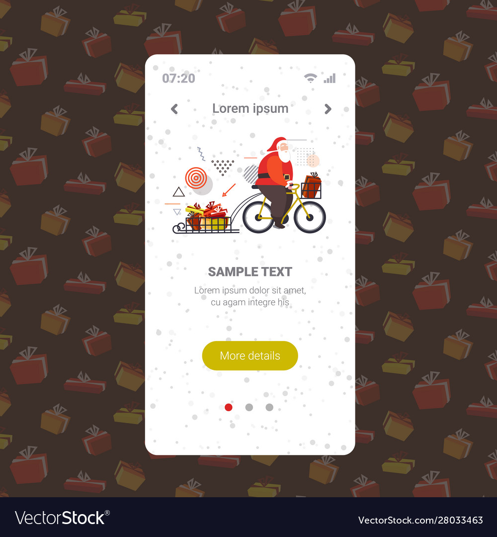 Santa claus riding bicycle with gift