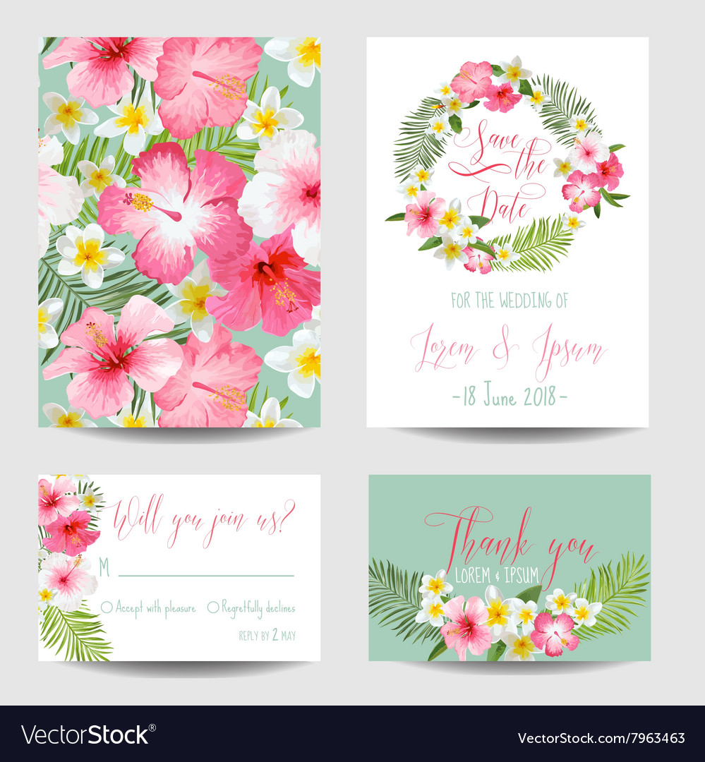 Save Date Card Tropical Flowers For Weddings Vector Image