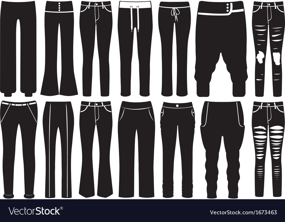 Set of different pants vector image