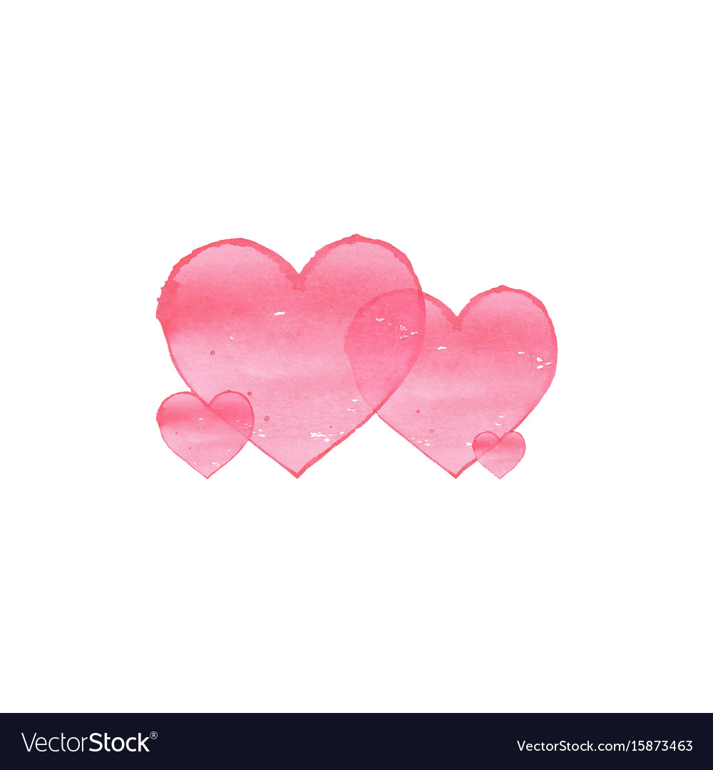 Watercolor hearts on white background family