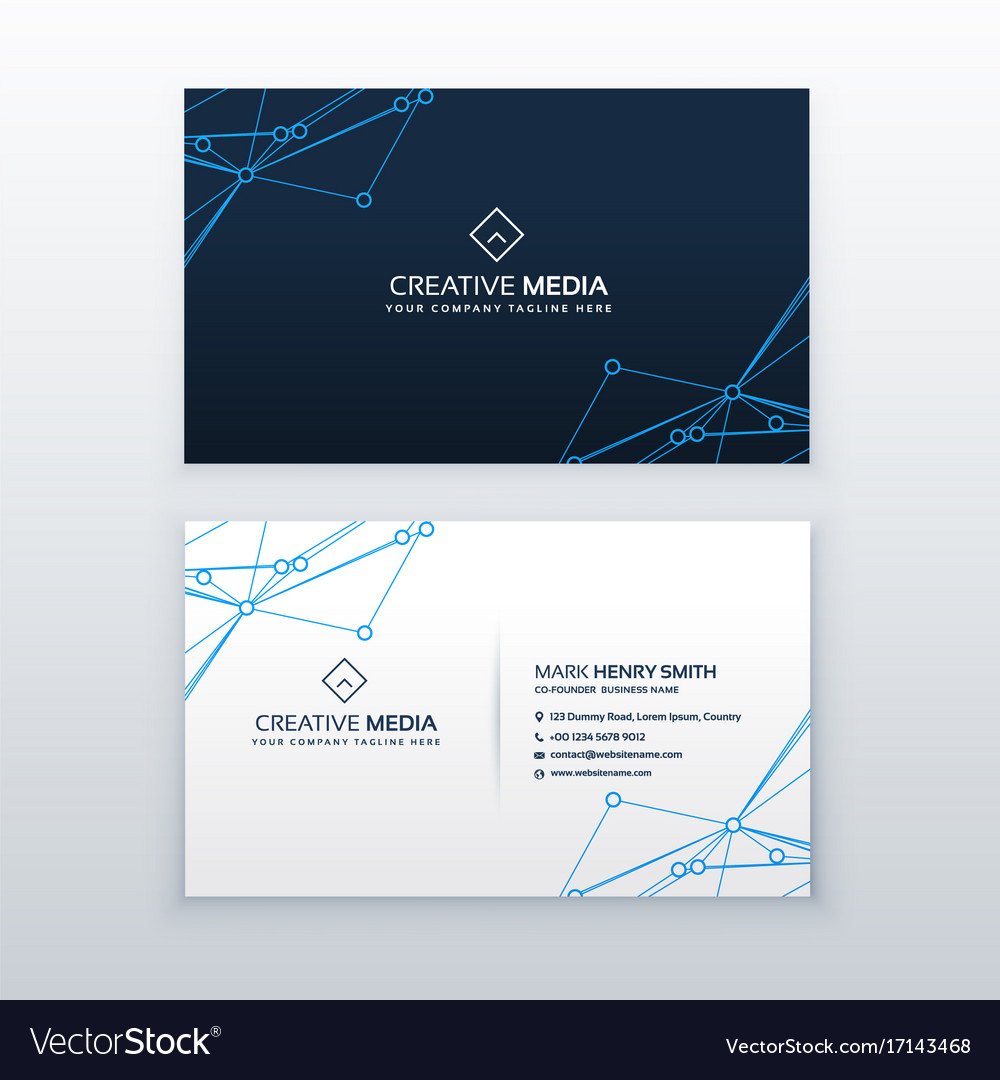 Blue clean business card design Royalty Free Vector Image