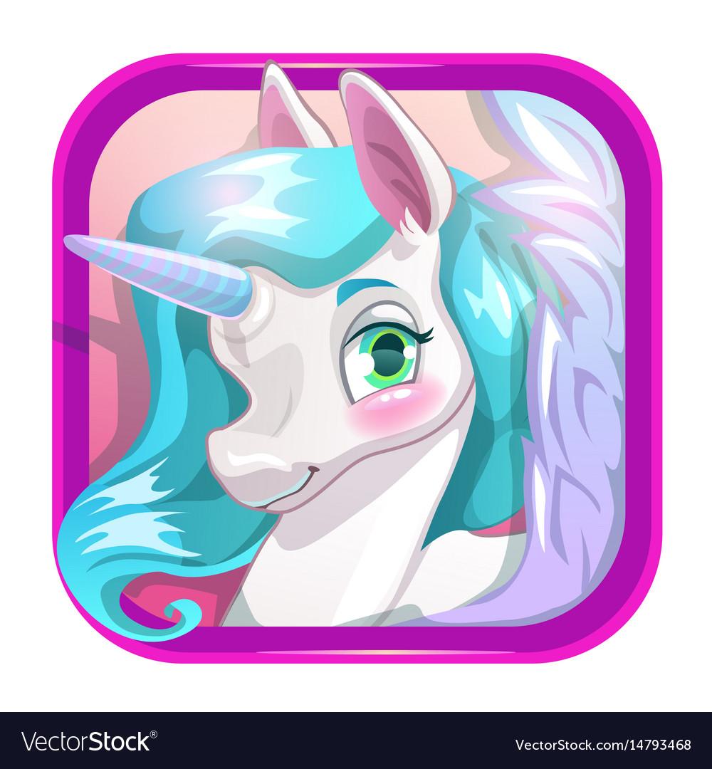 Cartoon app icon with cute unicorn face