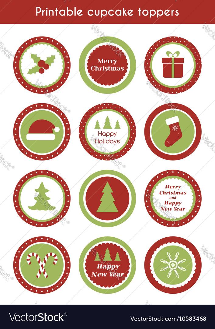 Christmas Cupcake Toppers.Christmas Printable Cupcake Toppers