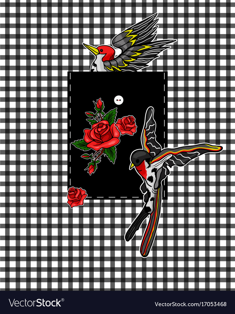 Flying bird and red roses stickers for embroidery