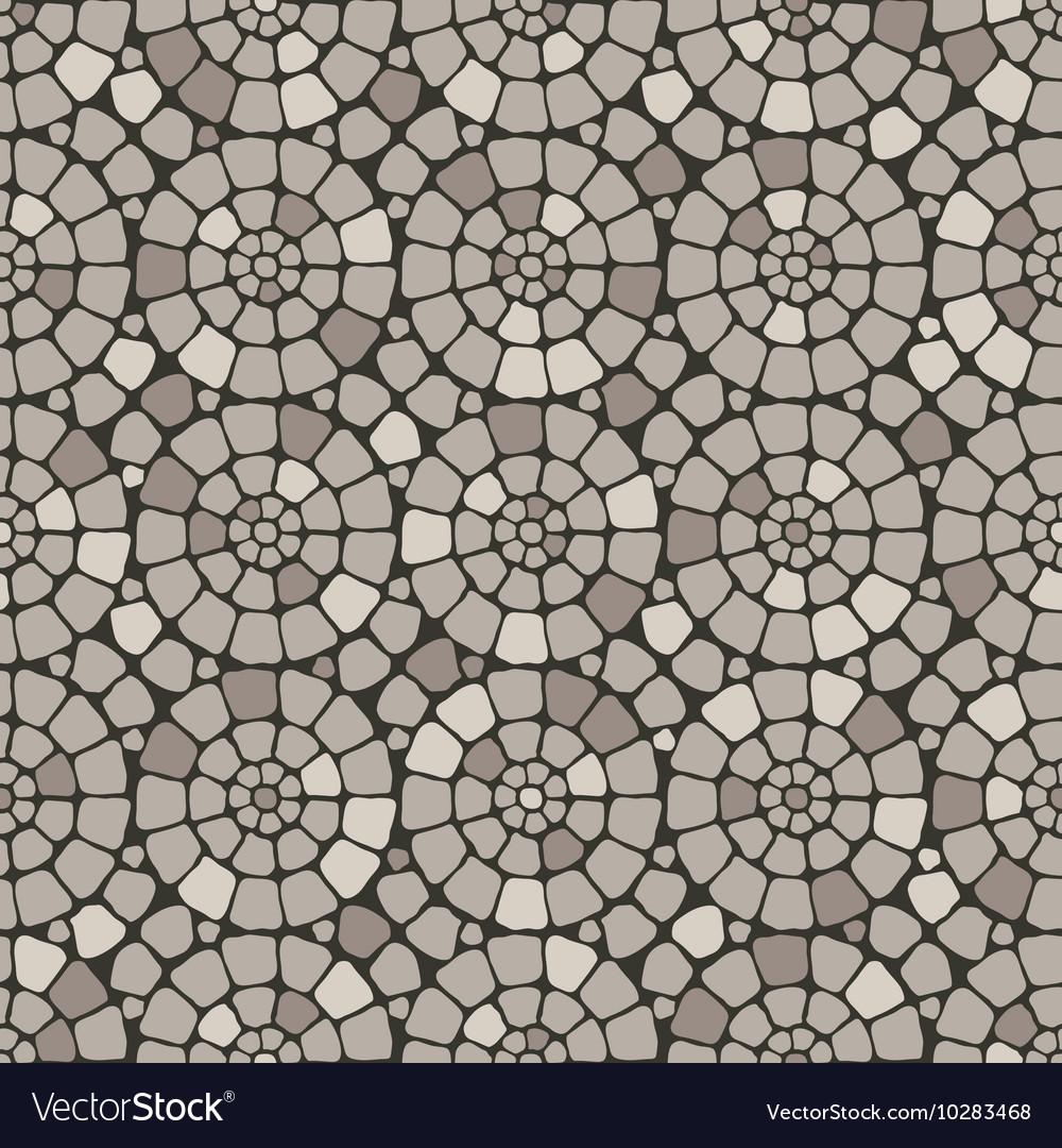 Grey pave stone circles road seamless pattern