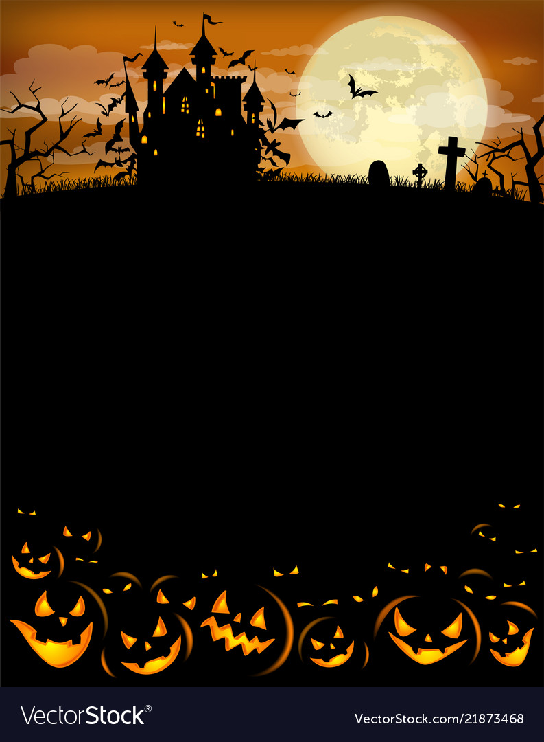 Halloween party invitation with dracula castle