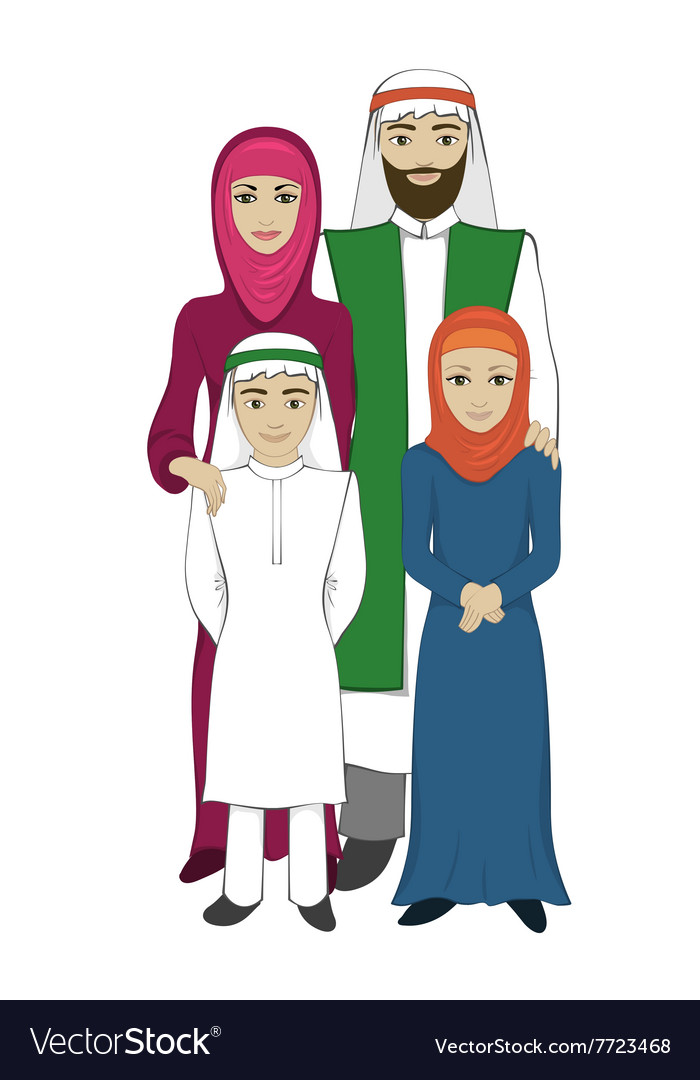 Muslim family concept flat style