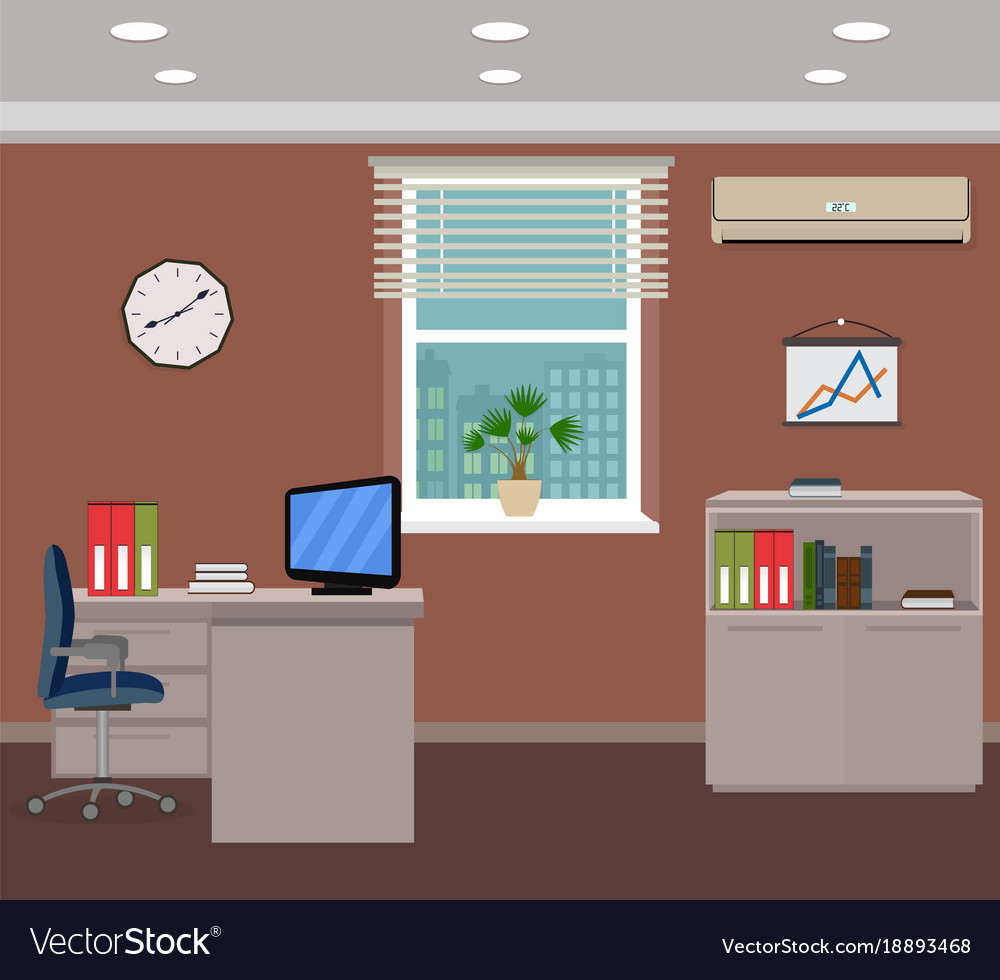 Office room interior design inside workplace with