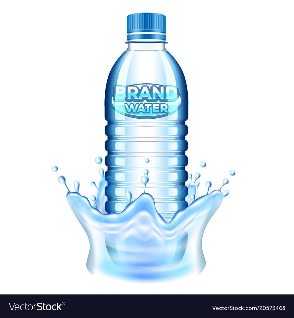 Plastic bottle in water splash 3d