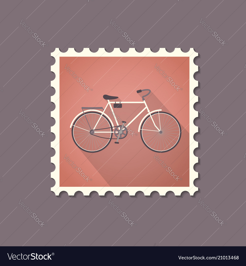 Retro style bicycle flat stamp with shadow