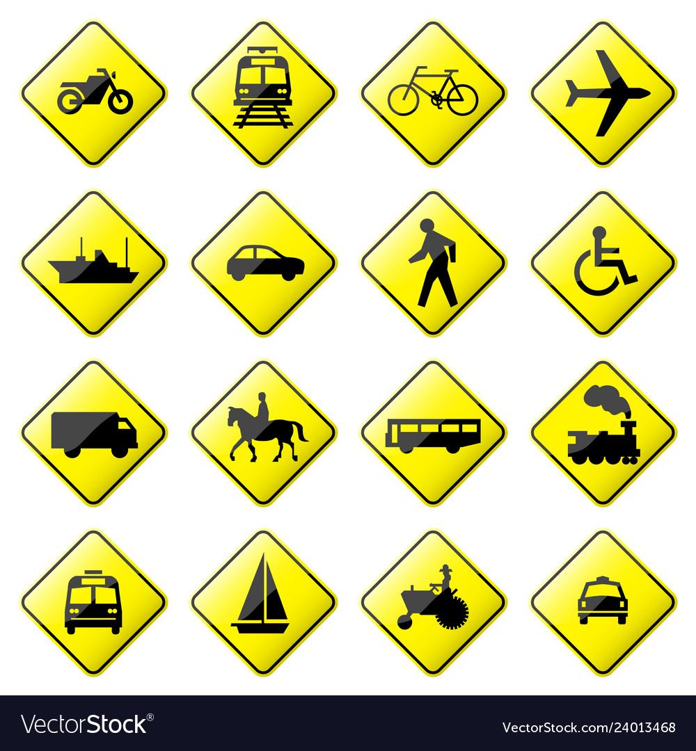 Road sign glossy setglossy road sign