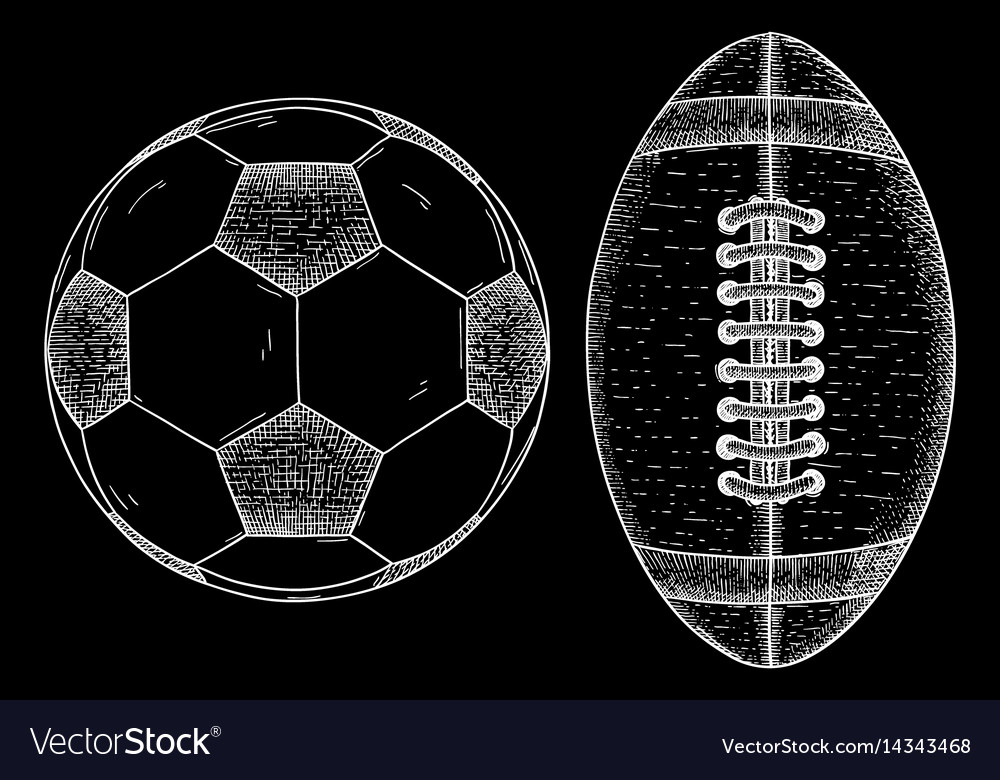 Rugby and soccer ball sketch