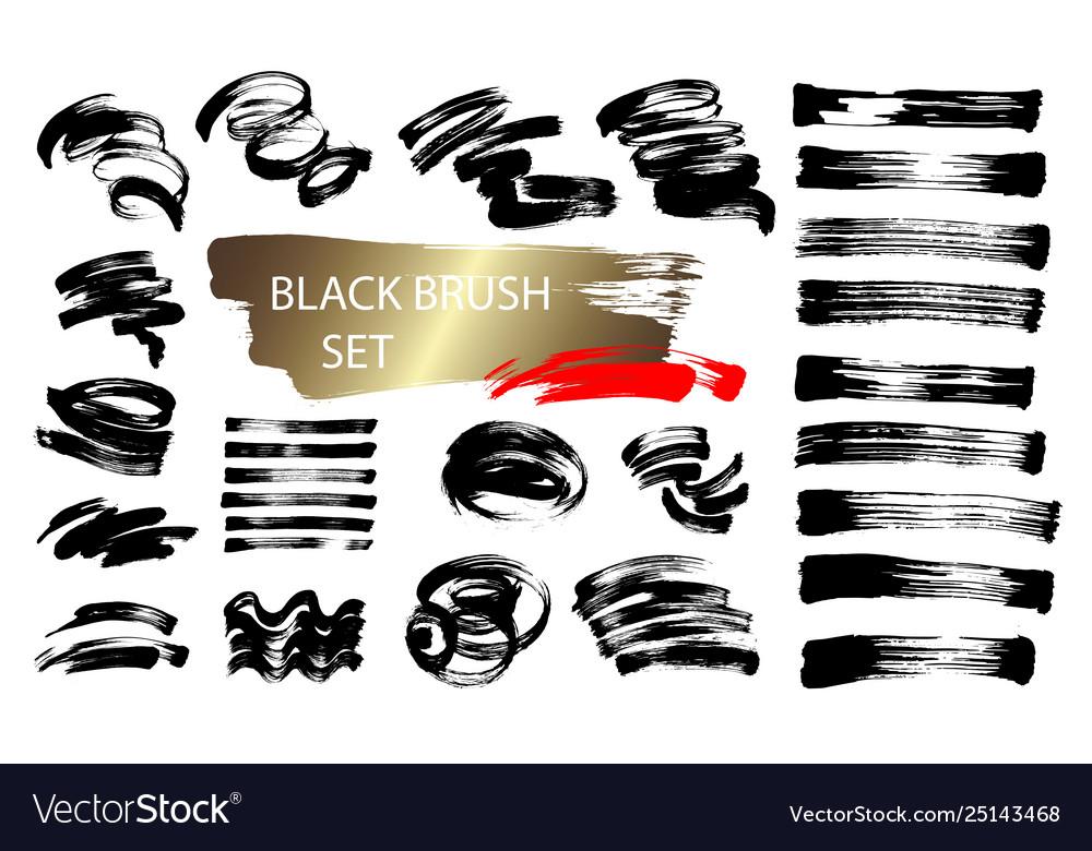 Set 24 black ink hand drawing brushes