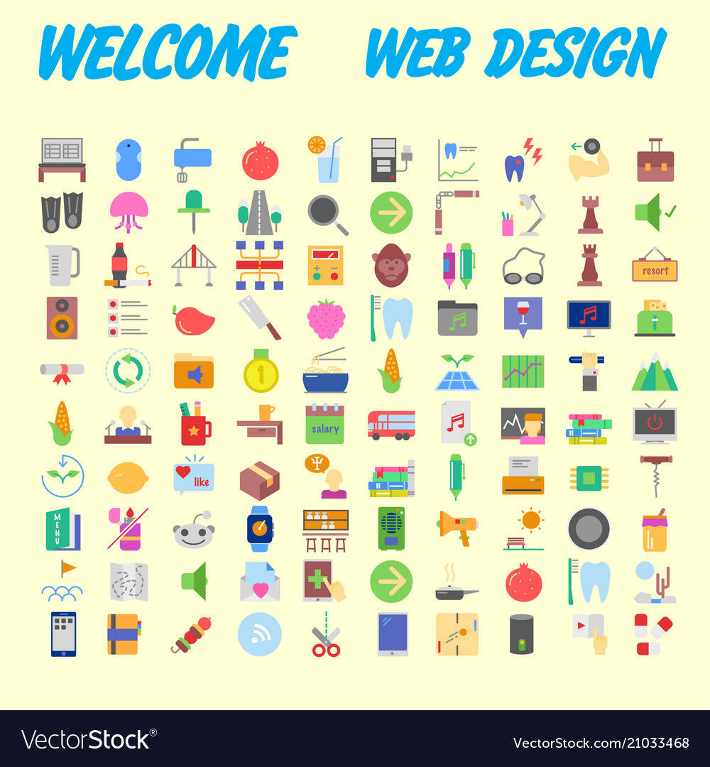 Set of 100 flat web icons on following themes