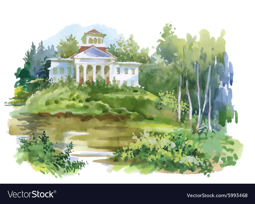 Watercolor painting of house in woods vector image on VectorStock