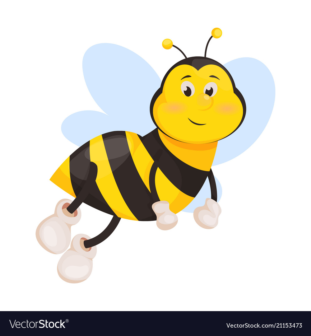 Bee cartoon cute honeybee insect Royalty Free Vector Image