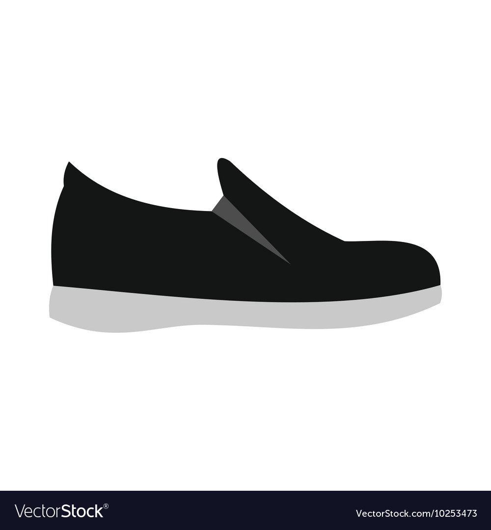 Black shoe with white sole icon flat style