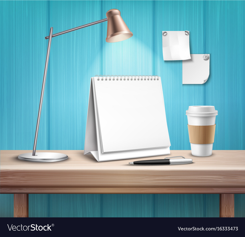 Blank table calendar on wooden desk vector image
