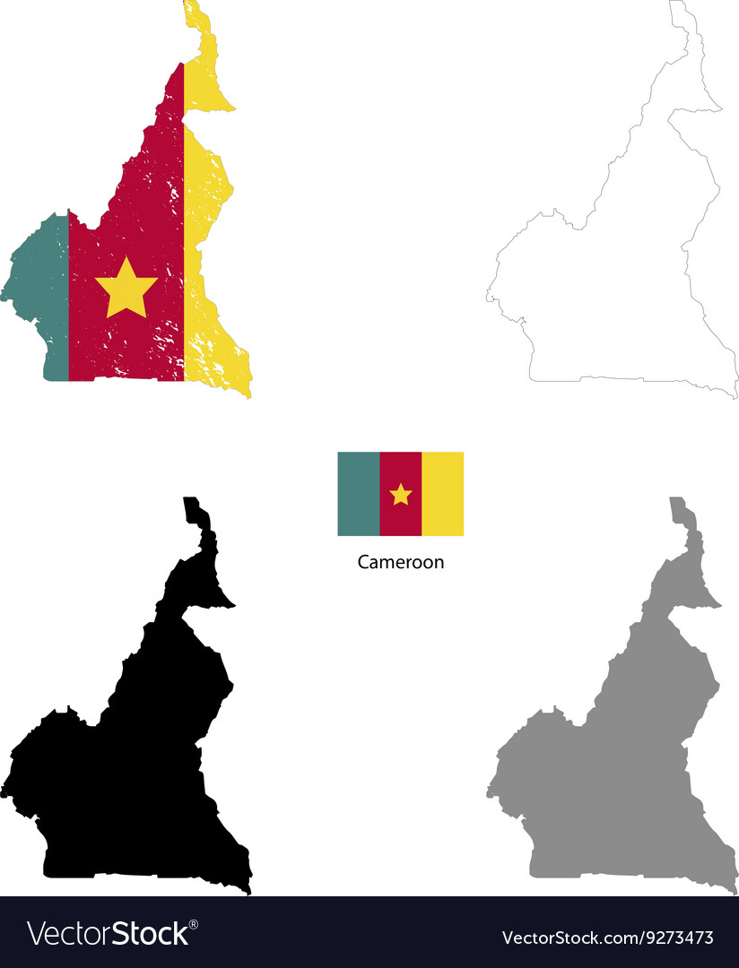 Cameroon country black silhouette and with flag on