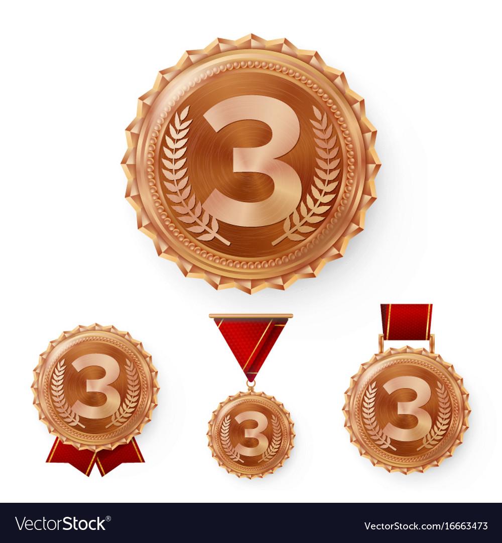 Champion bronze medals set metal realistic