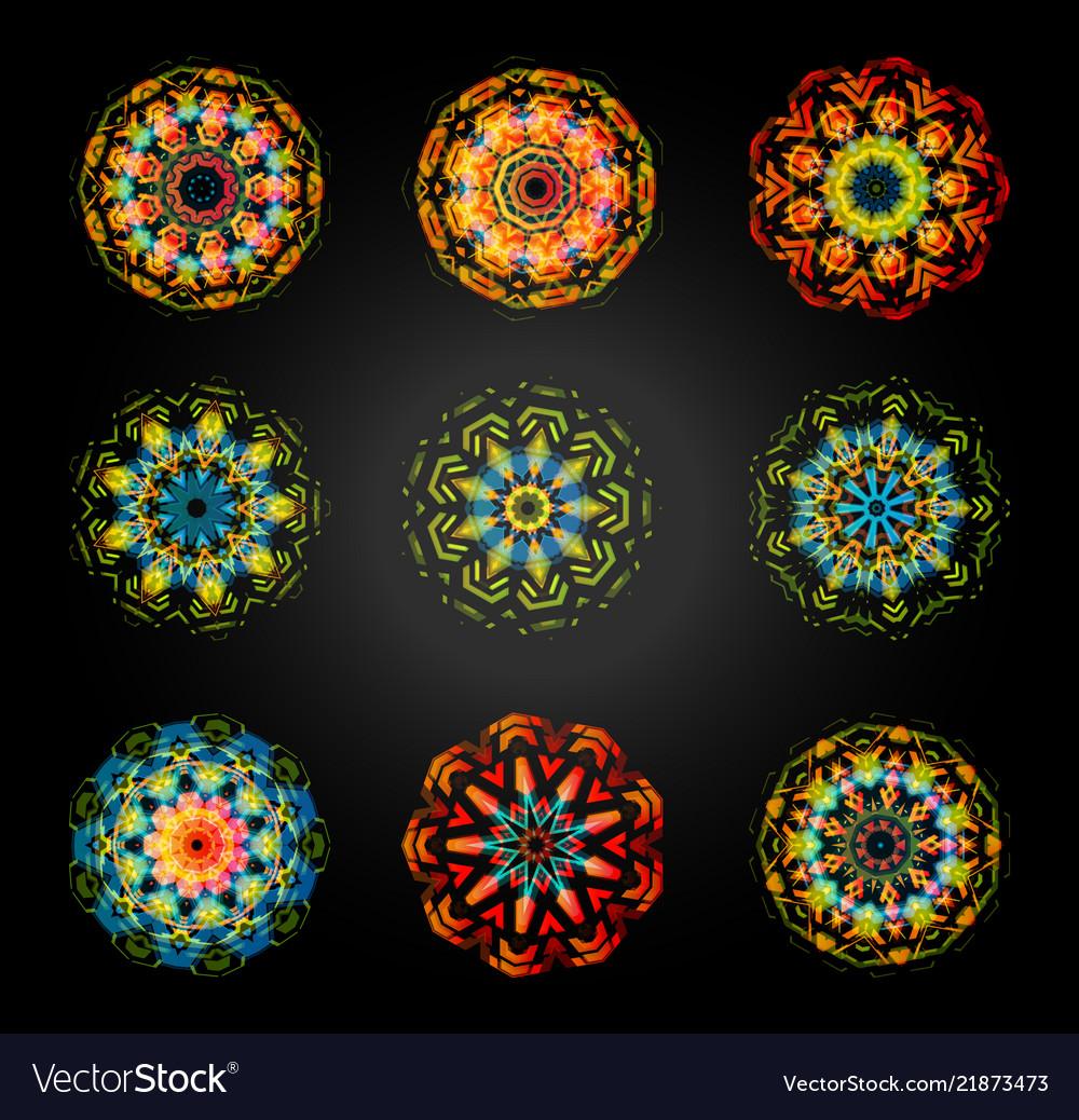 Circular pattern set caleidoscope mandala