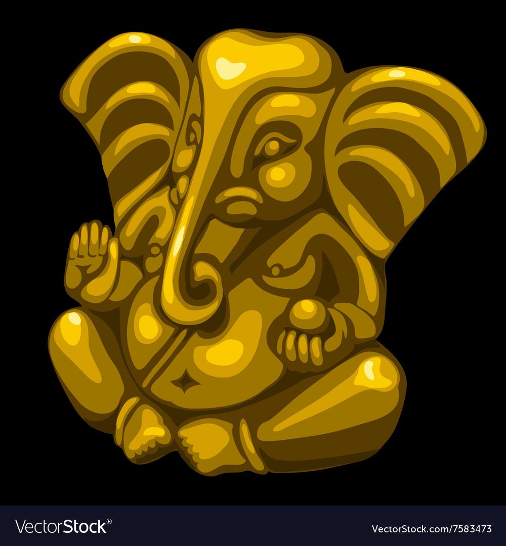 Golden statue of an elephant one object closeup