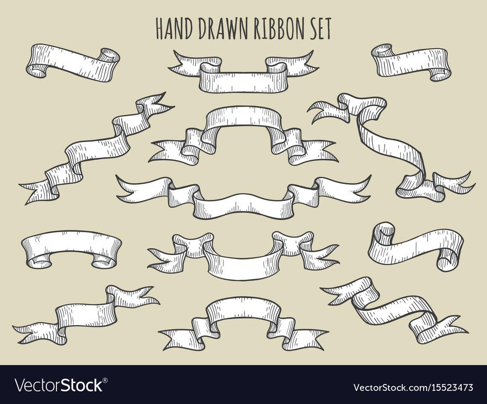 Hand drawn ribbon set vector image