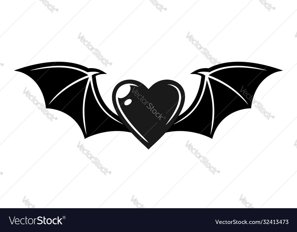 Heart with bat wings tattoo style object