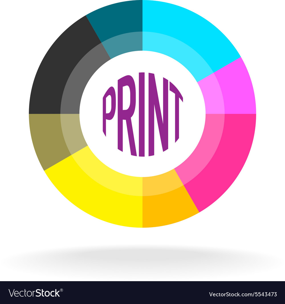 Print shop round logo template