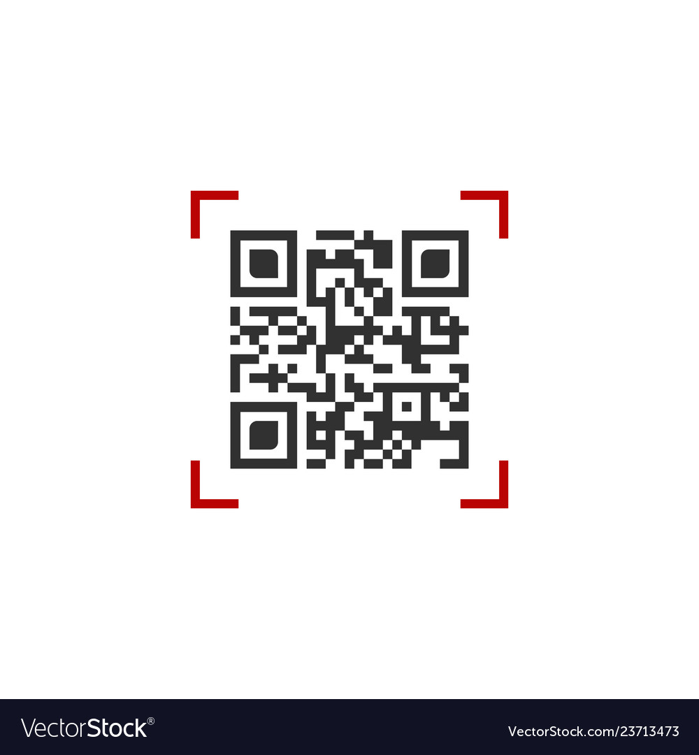 Qr code in red scanning frame isolated on white