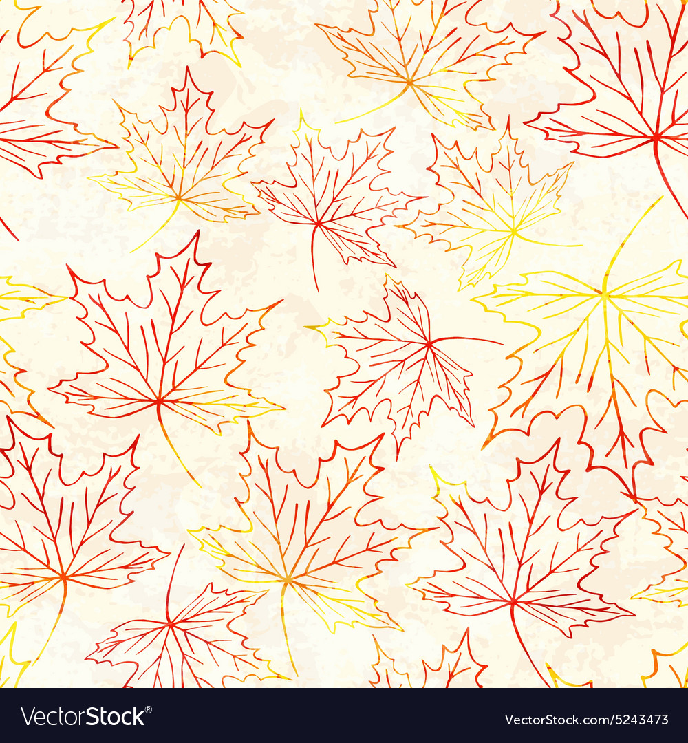 Seamless pattern with watercolor maple leaves