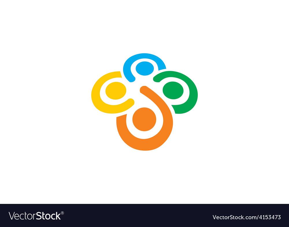 Teamwork diversity people circle logo