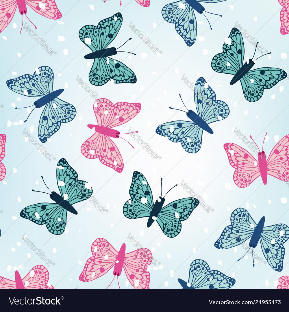 Winter butterflies seamless blue background