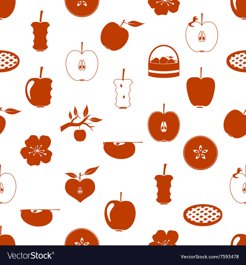 Apple theme red simple seamless pattern eps10