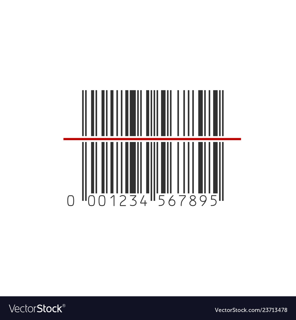 Barcode scanner icon black barcode with red