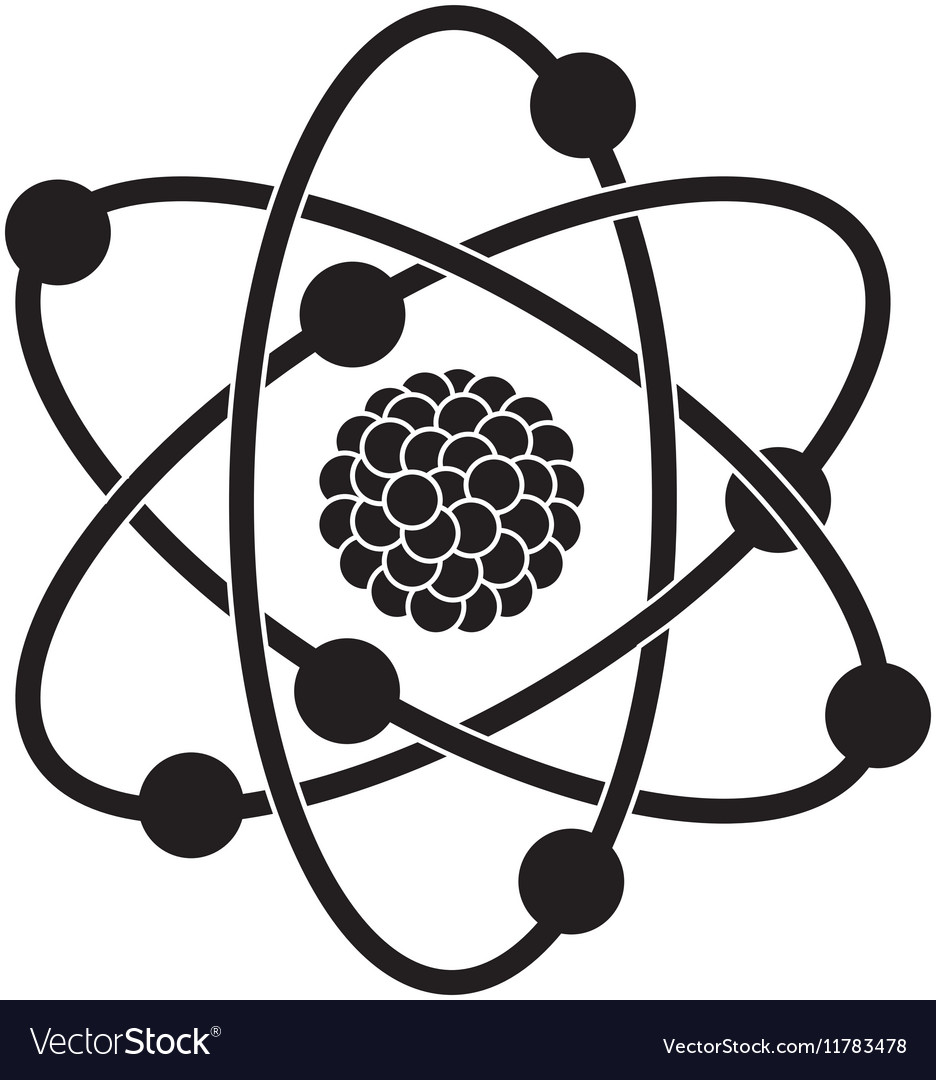 Black silhouette of atom structure