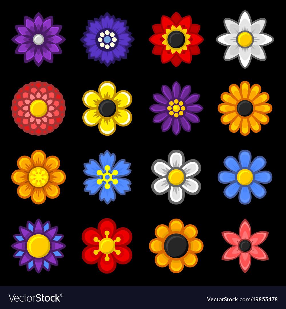 Color flower icons set on black background