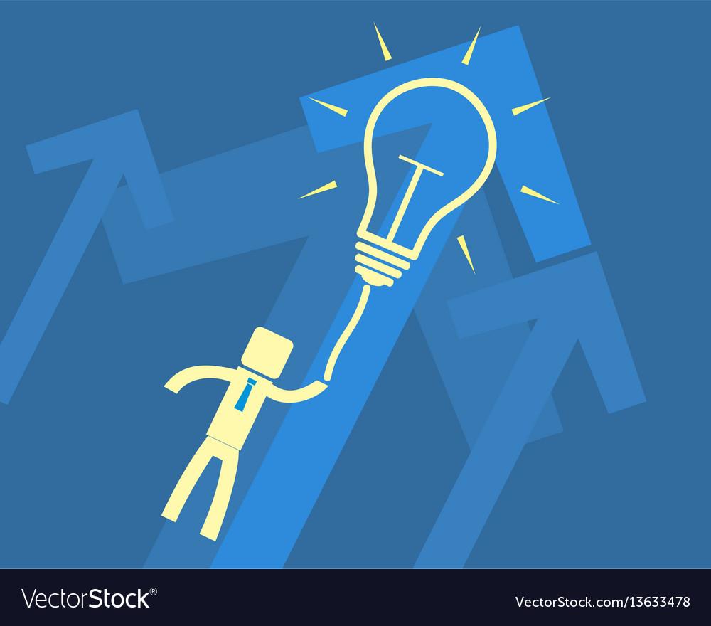 Concept idea - a man flying on light bulb