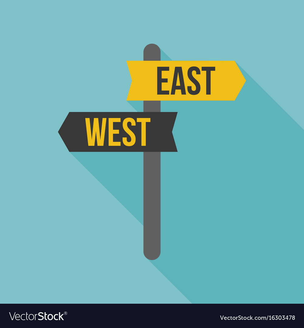 East west road sign Royalty Free Vector Image - VectorStock
