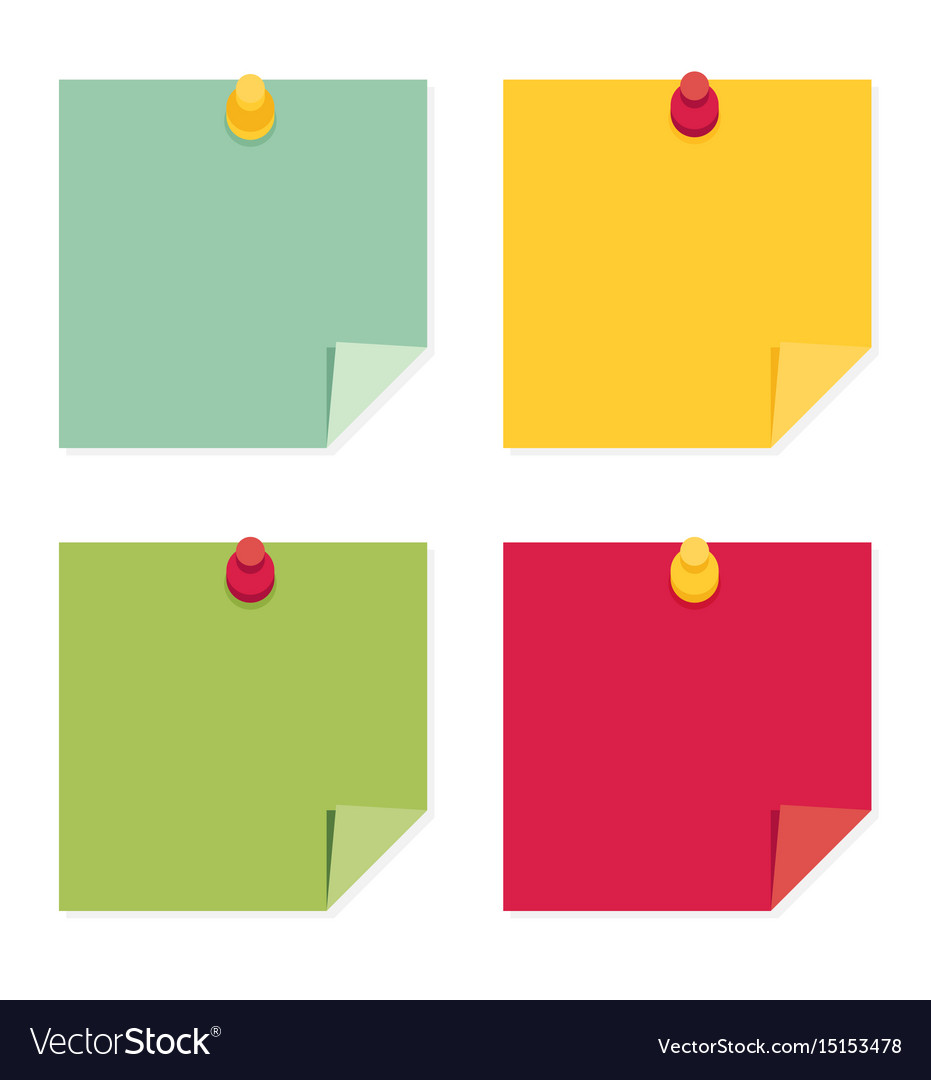 Flat design of colorful pinned sticky notes Vector Image   Sticky Note Design
