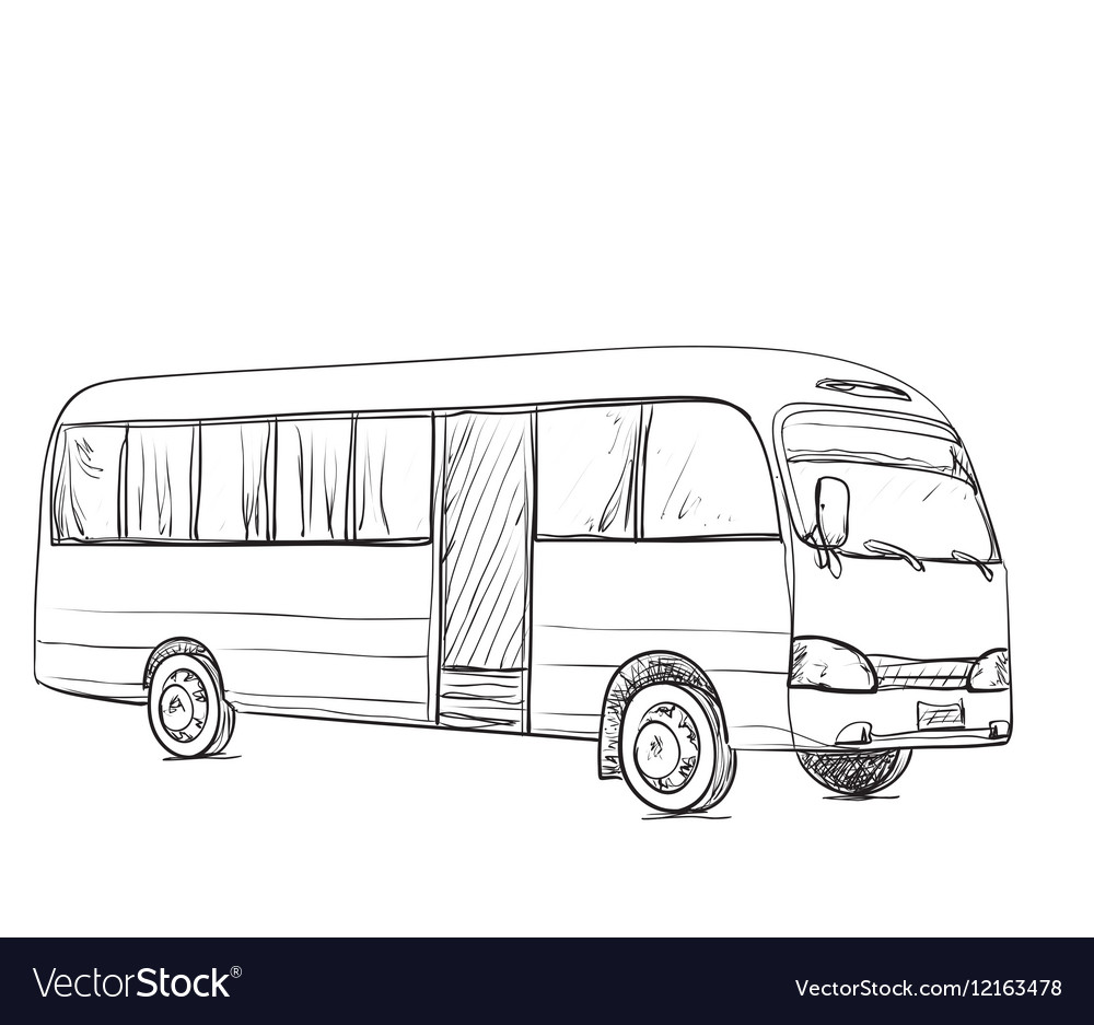 Hand Drawn Transport For Travel Bus Sketch Vector Image