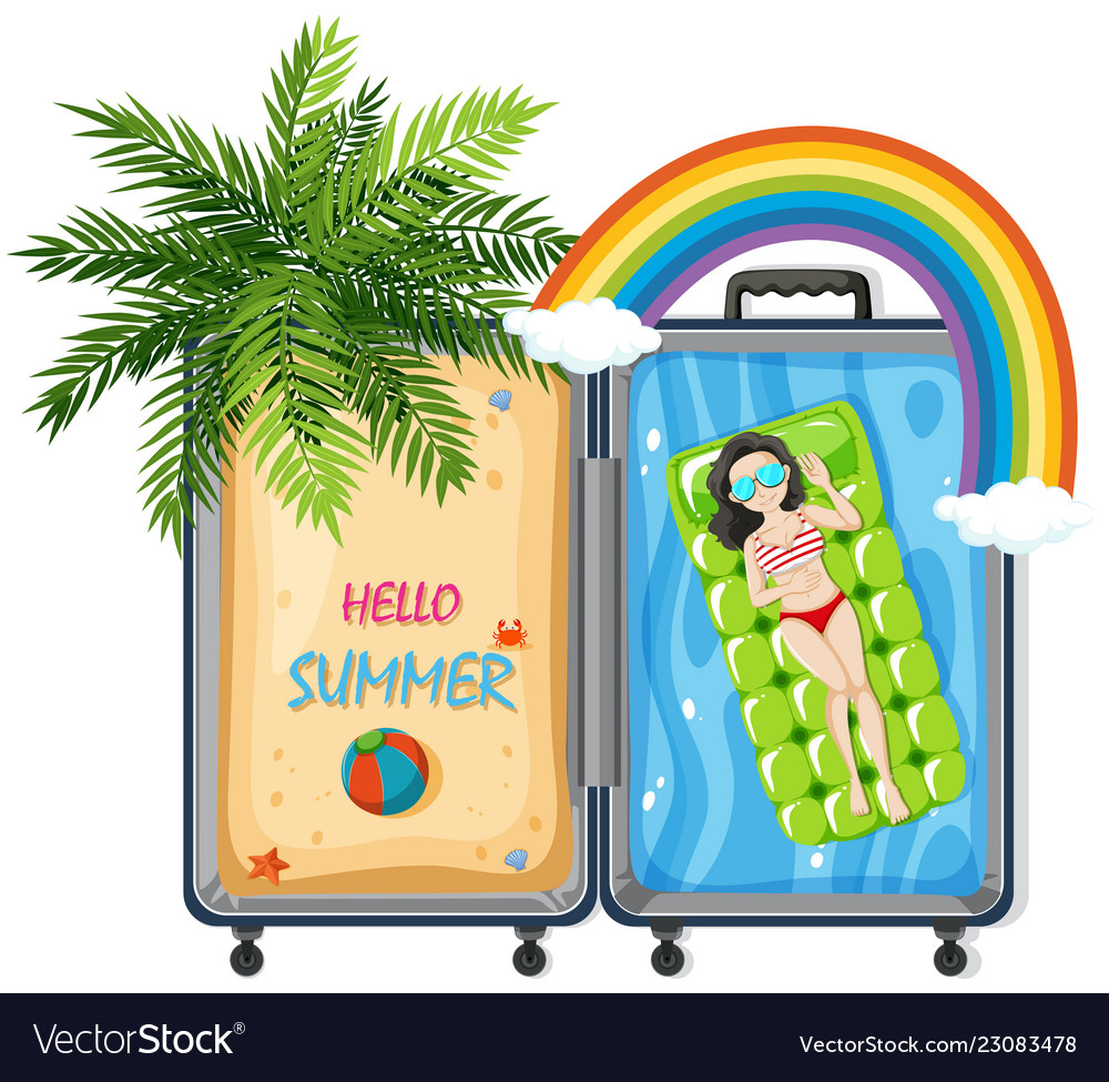 Hello summer in suitcase