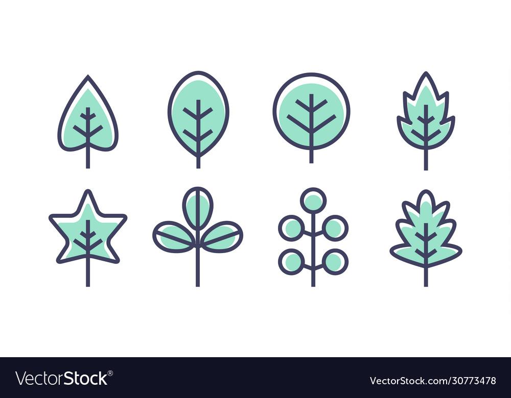 Leaf design line icon green line leaf